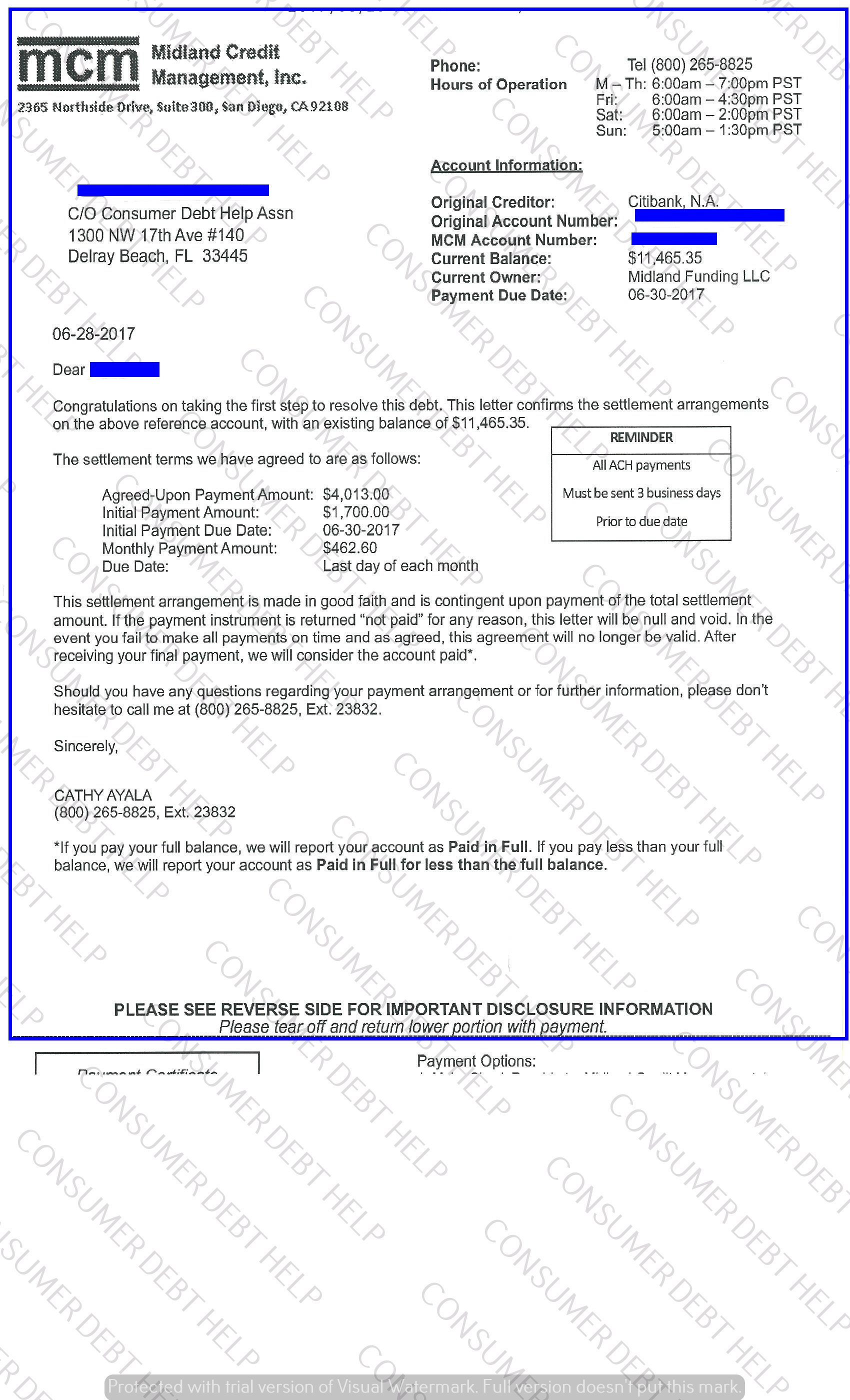 Settlement Letters From ATT Consumer BEBT HELP ASSOCIATION