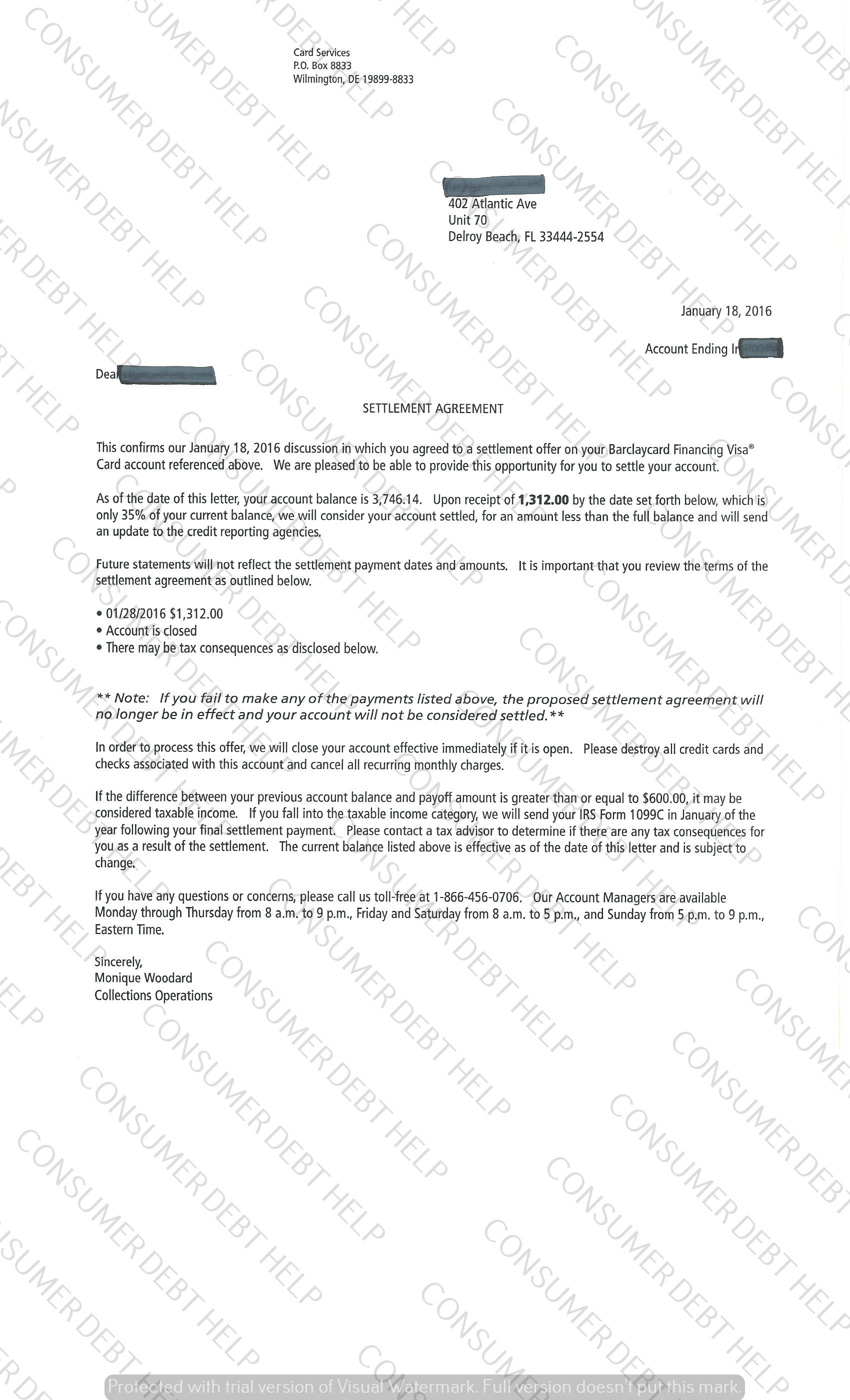 Settlement Letters From Barclays Bank Consumer Debt Help Association