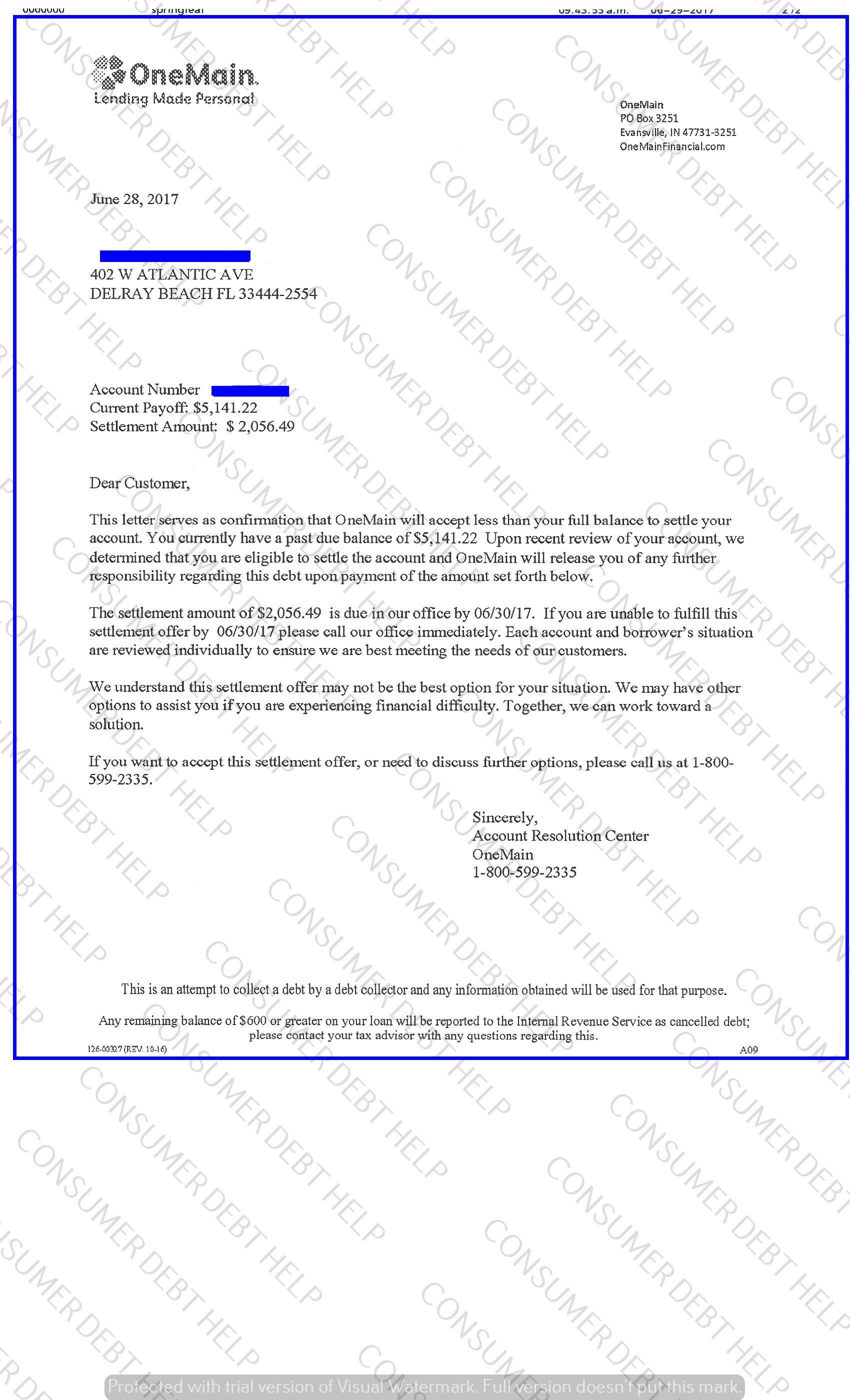 Settlement Letters From One Main Consumer BEBT HELP ASSOCIATION
