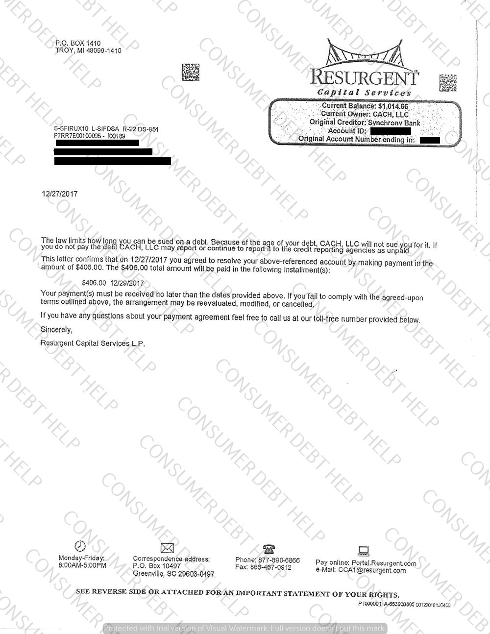 Settlement Letter From Sony Synchrony Bank Consumer Debt Help