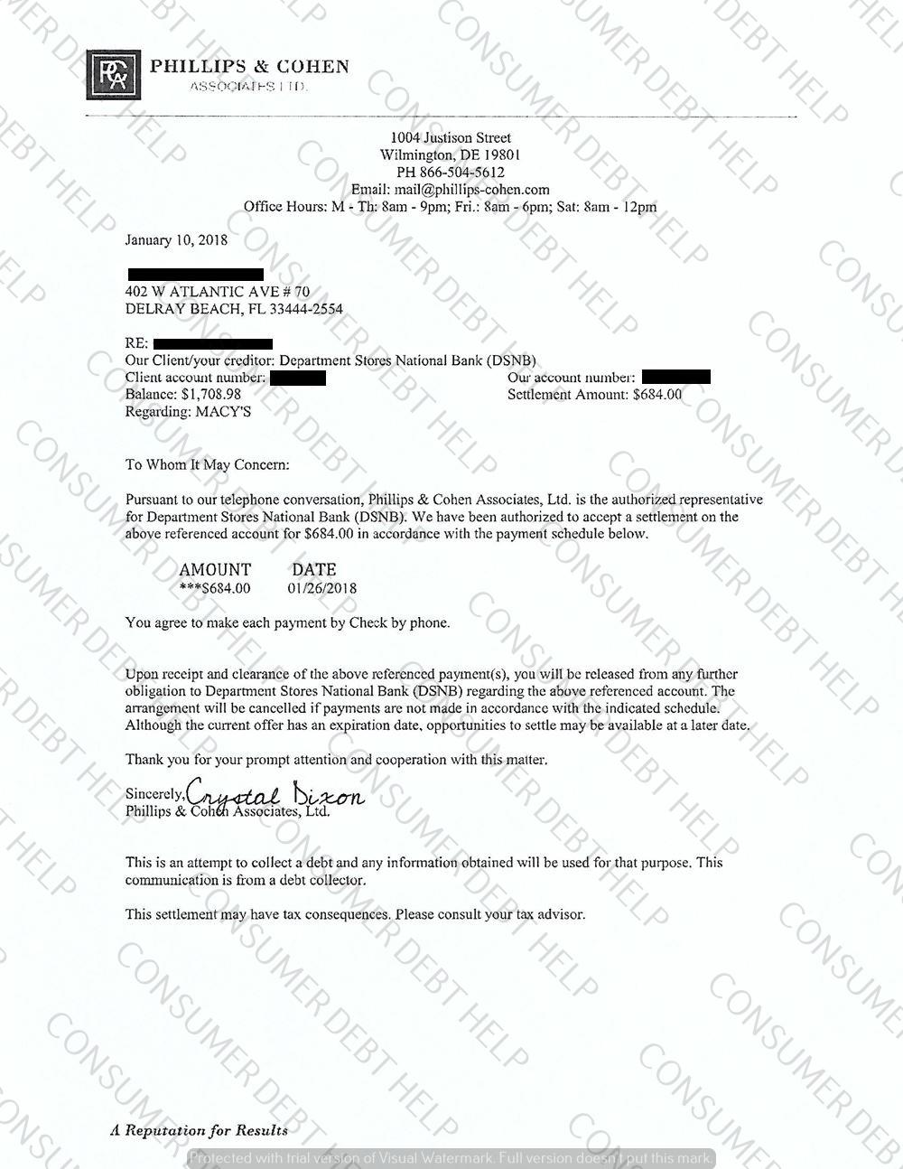 Settlement letter from macys consumer debt help association settlement letter from macys spiritdancerdesigns Gallery